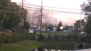 Arriving in North Brunswick. Plume of smoke visibile.